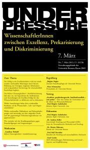 """Diskussionsveranstaltung """"Under Pressure"""" 7.3.2013"""